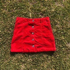 Red Corduroy Button up Mini Skirt